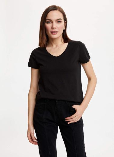 DeFacto V Yakalı Kısa Kollu T-Shirt Siyah